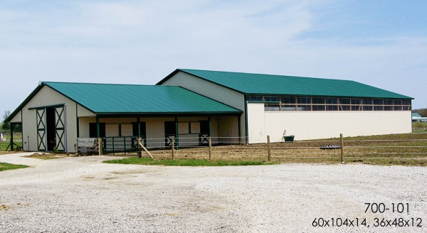 post frame Horse Barn and Arena